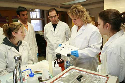 Judy Brown, associate professor in residence in the Department of Allied Health Sciences, instructs students in the lab.