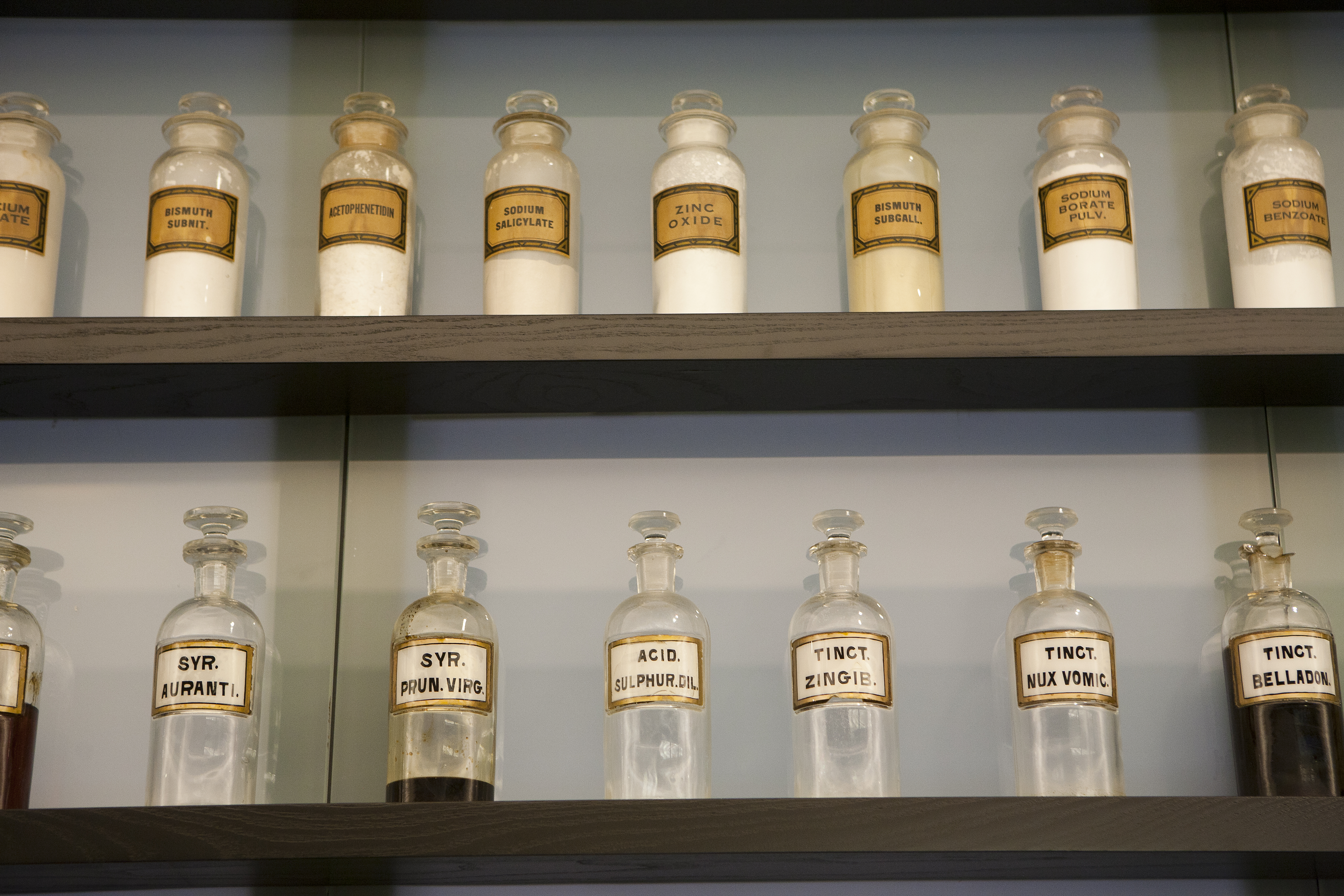 A display of antique medicine jars at the Pharmacy/Biology building